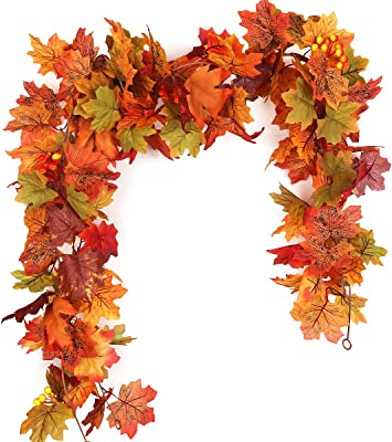 RECUTMS 2 Pcs Artificial Autumn Maple Leaves Garland 5.7Ft/Pieces Fall Garland Hanging Vine Garland Vines Hanging Plants Colorful Fall Decor for Home Christmas Garland Wedding Party