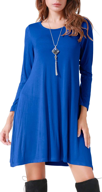 Costyleen Women's Casual Long Sleeve Loose Simple Flowy Swing TShirt Dress