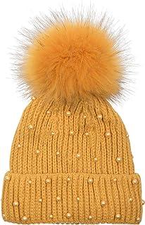 Damen Kunstpelz Strick Bommel Mütze Süß Pom Ball Kosake Ski Warm Süß