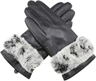 Fly® Winter Ladies Touch Screen Outdoor Driving/Cycling Sheepskin Wool-Lined Gloves (Color : Black, Size : L)