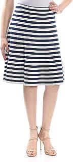 0f1916d8986de0 St John Womens Navy Striped Below The Knee A-Line Wear to Work Skirt US