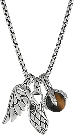 Legends Eagle Charm Necklace with Tiger Eye