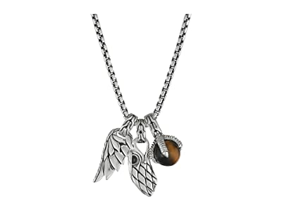 John Hardy Legends Eagle Charm Necklace with Tiger Eye (Silver) Necklace