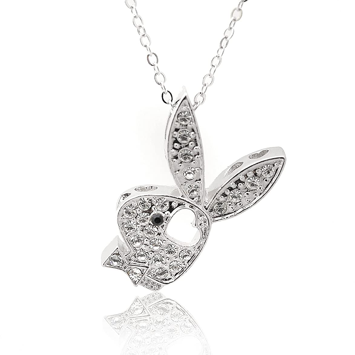 Spinningdaisy Silver Plated Mounted Play Bunny Boy with Heart Necklace gax332619289279