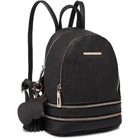 Miss Lulu Rucksack Daypack Damen Tasche Umhängetasche Rucksackhandtaschen Pu Leder Wasserdichte Schulrucksäcke Schultasche Kleine Geldbörse (Schwarz)