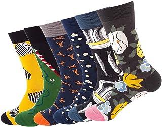 Longyangqk, Calcetines para hombre Calcetines de vestir coloridos Paquete de 6 Hombres Mujeres Niños Niña Algodón Calcetines estampados de moda