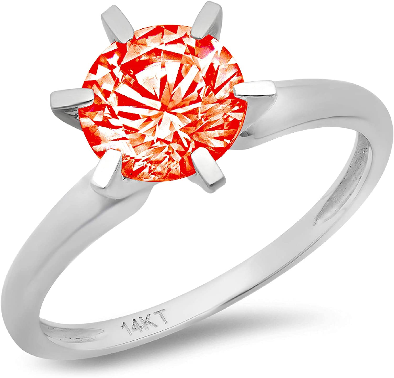 0.45ct Brilliant Round Cut Solitaire Red Simulated Diamond CZ Ideal VVS1 D 6-Prong Classic Designer Statement Ring in Solid Real 14k white gold for Women