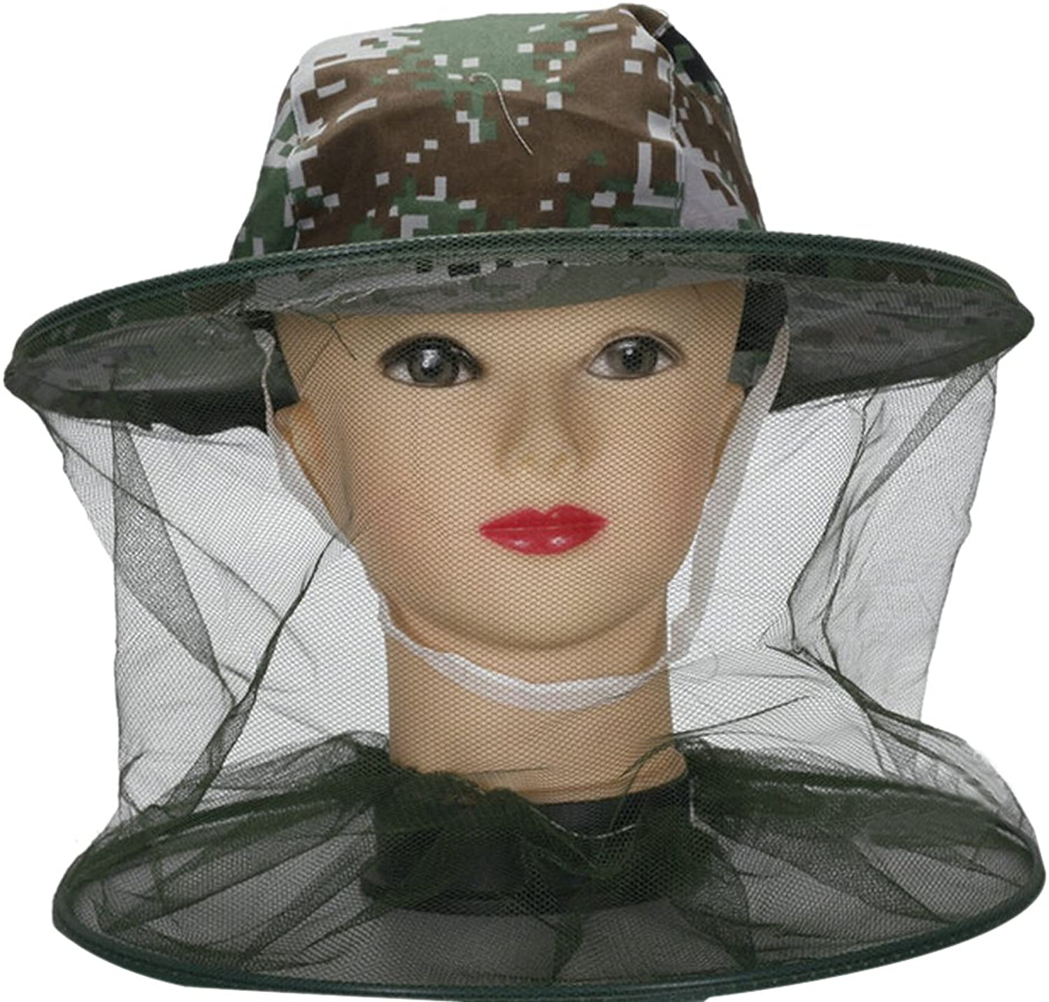Natuworld Outdoor Camouflage Antimosquito Bees Fly Hat with Veil Mosquito Head Net Mesh Beekeeping Face Mask Face Predection