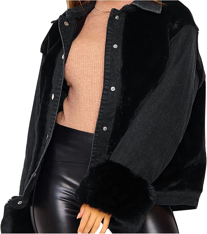 Women's Loose Single Breasted Lapel Plush Denim Stitched Warm Long Sleeved Oversized Patchwork Denim Jacket Button Coats (Black, L)