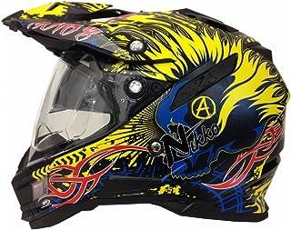 <h2>Motorradhelm MX Enduro Quad Helm Schwarz Gelb mit Visier und Sonnenblende Gr. L</h2>