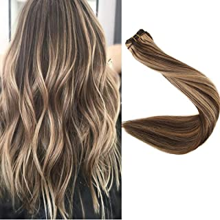 Full Shine 20 inch Real Remy Human Hair Extensions Double Wefted Hair Weft Bundle Extensions Real Hair Balayage Hair Color #4 Medium Brown And #27 Honey Blonde 100g Per Bundle