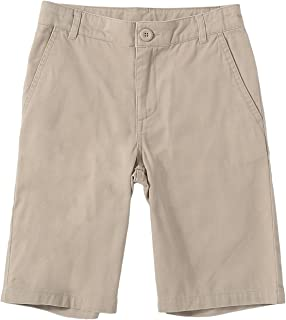 Bienzoe Boy's School Uniforms Flat Front Twill Bermuda Shorts