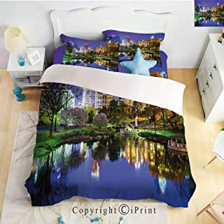 Homenon Bed Sheet Set Twill Sanding,North Carolina Marshall Park United States American Night Reflections on Lake Photo,Multicolor,Queen Size,Wrinkle,Stain Resistant Hypoallergenic 4 Piece