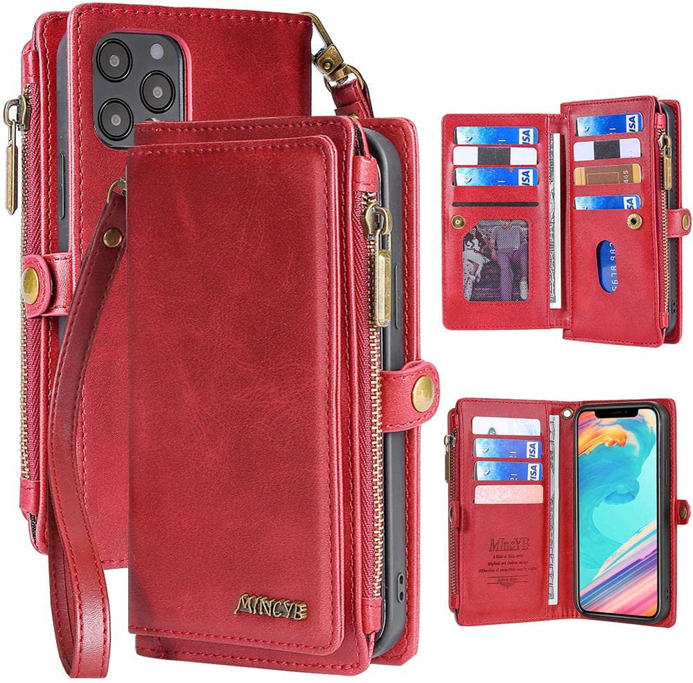 MInCYB Case for iPhone 12 Pro Max, iPhone 12 Pro Max Leather Wallet Case, 2 in 1 Zipper Detachable Magnetic Flip Folio Covers with Wristlet Strap, Suitable for Apple iPhone 12 Pro Max. - Red