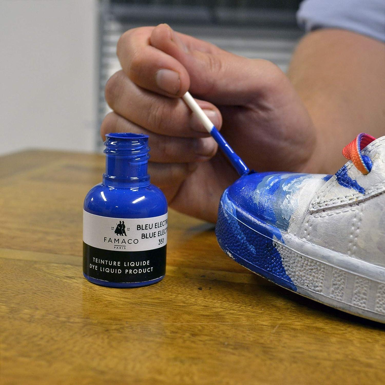 Famaco - Pintura de tinte para zapatos de piel y chaquetas con esponja y cepillo, 36 colores