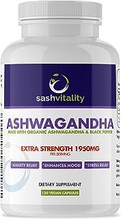 Organic Ashwagandha High Strength 1950mg Root Powder - 120 Vegan Capsules - Ashwaganda Supplement Organic - Black Pepper E...