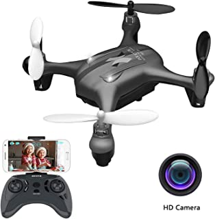 ATOYX AT-96 FPV Mini WiFi Drone,HD FPV WiFi Transmission RC Quadcopter with Altitude Hold Headless Mode 3D Flips One Key Start/Land for Kids and Beginners(Black)