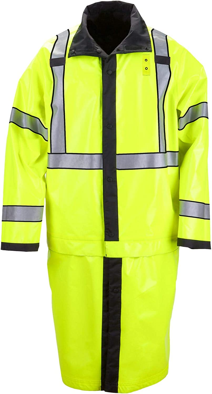 5.11 Tactical Long Reversible Hi-Vis Rain Coat, Nylon Oxford Fabric, Seam-Sealed, Style 48125