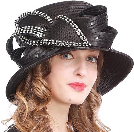 VECRY Women's Dressy Church Baptism Wedding Derby Hat (Rhinestone-Black)