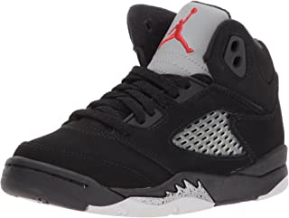 Nike Baby Boys Air Jordan 5 Retro BP OG Metallic Black/Fire Red-Mtllc Silver Suede