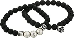 Lava Stone with Skull Head Charm Stretch Duo Bracelet Set in Stainless Steel