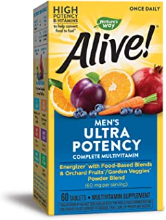 Nature's Way Alive! Once Daily Men's Multivitamin, Ultra Potency, Food-Based Blends (291mgper serving), 60 Tablets