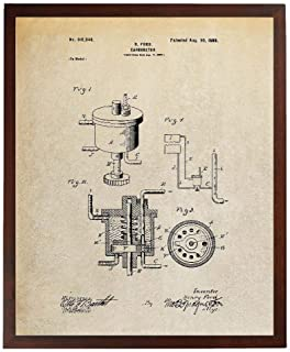 Turnip Designs Carburetor 1898 Patent Poster Henry Ford Automotive Art Garage Decor Car Part Art TDP382