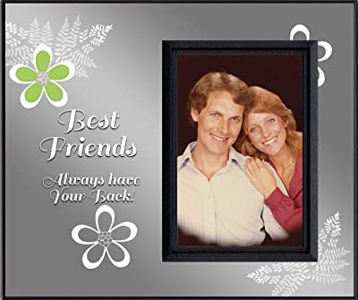 Best Friends Always Have Your Back Picture Frame | Holds 3.5 x 5 Photo | Innovative Front-Load Design | Black