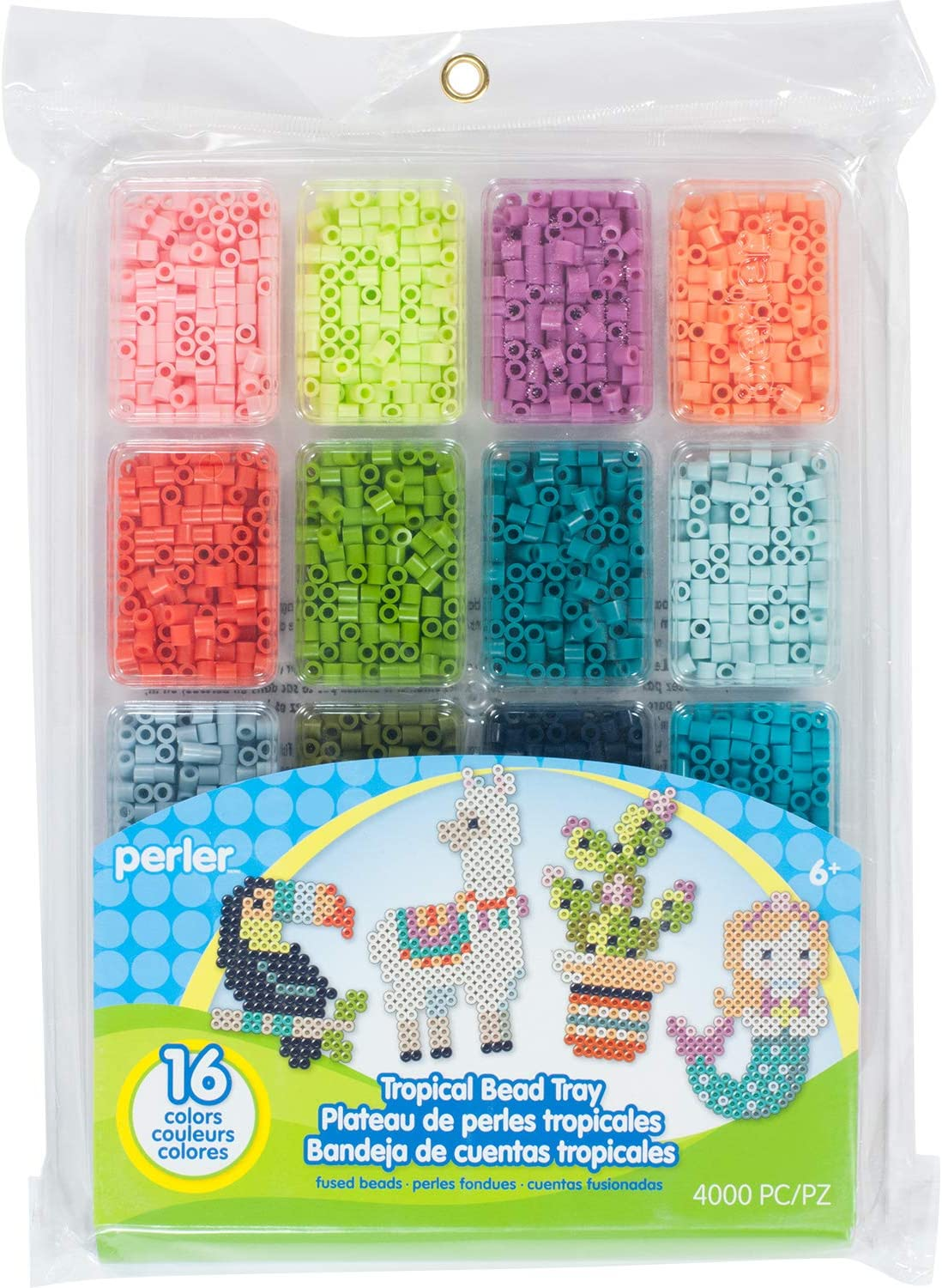 Perler Now on sale Tropical Colors Fuse Bead Max 78% OFF Tray for Crafts 4000pcs