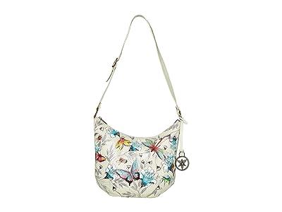 Anuschka Handbags Medium Bucket Hobo 471 (Wondrous Wings) Handbags