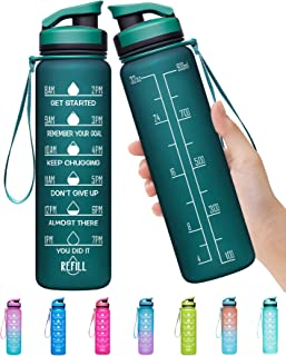 Elvira 32oz Large Water Bottle with Motivational Time Marker & Removable Strainer,Fast Flow BPA Free Non-Toxic for Fitness...