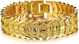 أساور ذهبية للرجال من أو بي كيه سلسلة عصرية مطلية بالذهب 18 قيراط سوار منحوت أساور للرجال 21 سم