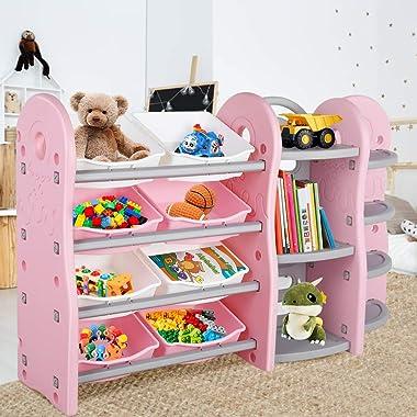 POTBYKidsToyStorageOrganizer, 4 Layer Children Play Collection Shelves, Bookshelf & Corner Rack, with8PlasticDrawe
