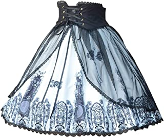 Smiling Angel Women's Classic Gothic Lolita Band Waist Skirt Cross and Church Printed Vintage Style Skirt