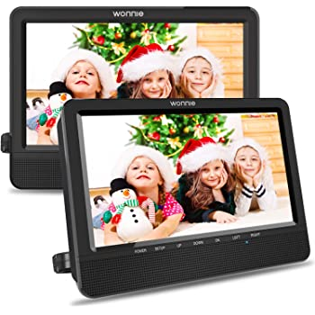 WONNIE 10.5'' Car Dual DVD Player Portable Kids Headrest CD Players, Two Mounting Brackets Built-in 5 Hours Rechargeable Battery Great for Family Travel ( 1 Player+1 Monitor )