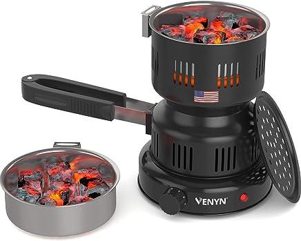 VENYN Multipurpose Charcoal Burner with Starter for Hookah, Shisha, Nargila, BBQ Fire – Porcelain Coating – Smart Heat Control – Includes Pair of Free Tongs