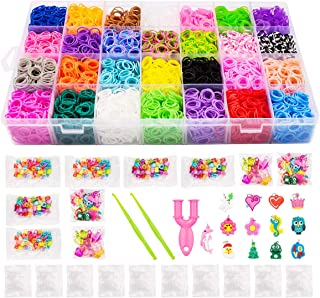 11500+Rubber Bands Kit, 10000 Loom Bands in 28 Colors, 500 S-Clips, 2 Y Looms, 180 Beads, 52 ABC Beads, 48 Charms, 2 Croch...