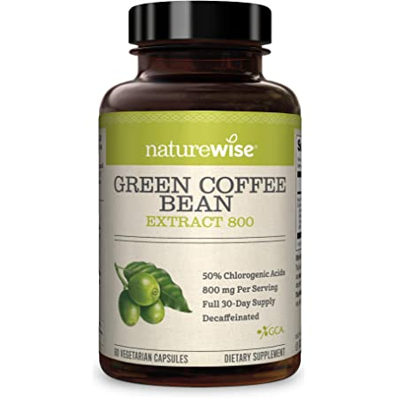 NatureWise Green Coffee Bean 800mg Max Potency Extract 50% Chlorogenic Acids, Raw Green Coffee Antioxidant Supplement & Metabolism Support for Weight Maintenance, Non-GMO & Gluten-Free (1 Month)