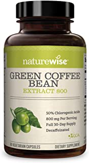 NatureWise Green Coffee Bean 800mg Max Potency Extract 50% Chlorogenic Acids | Raw Green Coffee Antioxidant Supplement & M...