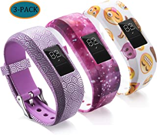 Compatible with Garmin Vivofit JR Bands for Kids,  Colorful Adjustable Silicone Replacement Bands Wristband Straps Bracelet for Vivofit JR/Vivofit jr2 / Vivofit3 (Purple Galaxy Yellow)