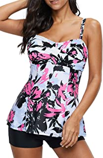 Best Women Floral Tankini Tummy Control Swimwear Tank Top Retro Printed Swimsuit with Boyshorts Two Piece Bathing Suit Review