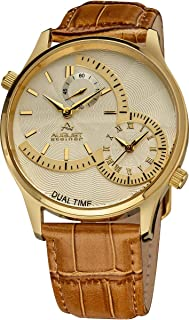 August Steiner Men's Dual Time Dress Watch - Yellow Gold ToneCase with Textured Beige Dial and 3 Sub Dials on Brown Genuine Leather Alligator Strap - Gold ToneHands- AS8010