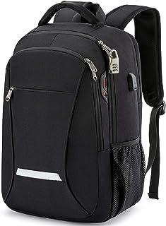 Mochila para hombre Mochila para portátil de viaje con puerto de carga USB, conector para auriculares y bloqueo de contras...