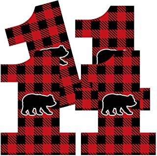 Big Dot of Happiness 1st Birthday Lumberjack - Channel The Flannel - One Shaped Decorations DIY Buffalo Plaid First Birthday Party Essentials - Set of 20