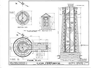 Historic Pictoric Structural Drawing HABS PA,25-ERI,5- (Sheet 1 of 2) - Land Lighthouse, Front Street, Land Lighthouse Park, Erie, Erie County, PA 55in x 44in