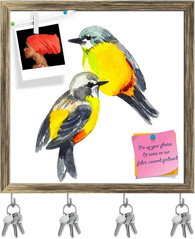 Artzfolio Cute Bird D3 Key Holder Hooks   Notice Pin Board   Antique golden Frame 16.1 X 16Inch