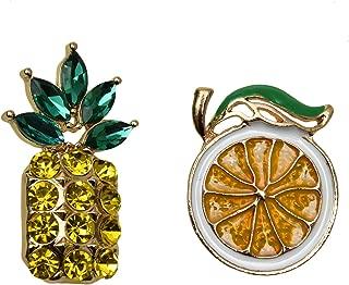 Monrocco Fruit Brooch Pin Crystal Pineapple Orange Brooch Pin Sweater Scarves Scarf Brooch Charm.