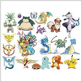 FUN FOR LIFE Pokemon Wall Stickers Peel and Stick, Pikachu/ Charmander/ Bulbasaur/ Squirtle/ Eevee/ Gyarados/ Lapras/ Mewtwo/ Dragonite