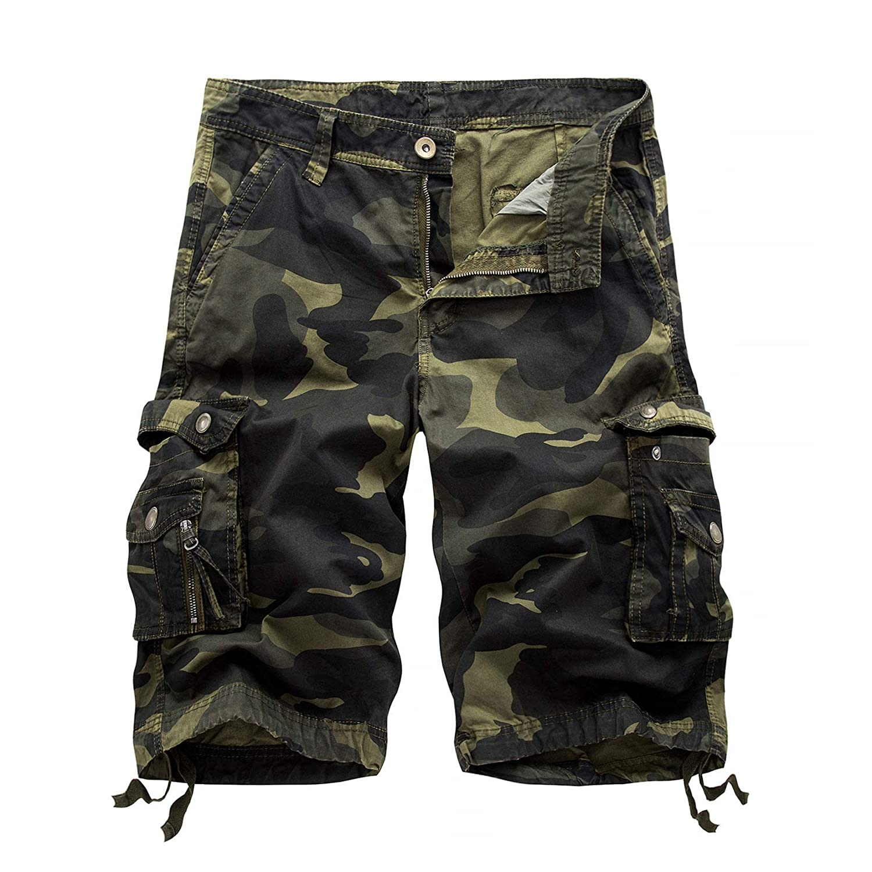 Men's Active Normal Waist Loose Shorts Multi-Pocket Versatile Twill Cargo Shorts Outdoor Cotton Cargo Short Pants (38,Army Green 1)