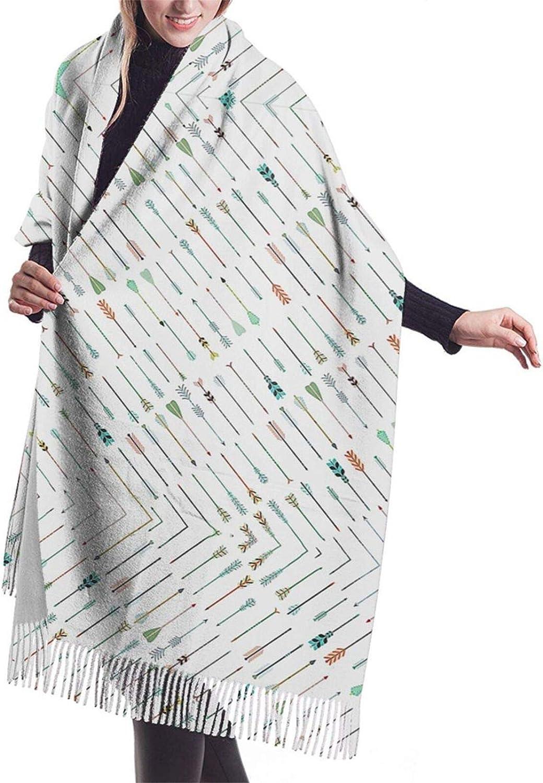 Womens Comfortable Cashmere Scarf,Ethnic Tribe Arrows Shawl Scarf,Premium Large Pashmina,Warm Wrap Cape Solid Shawl Elegant Wrap